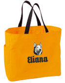 Siberian Husky Tote Font shown on bag is EDWARD