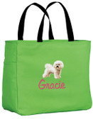 Bichon Frise Tote Font shown on bag is REBECCA