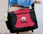Bichon Frise Computer Bag Font shown on bag is PIZZA PIE