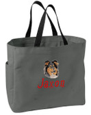 Collie Tote Font shown on bag is STONE AGE
