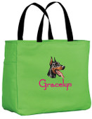 Doberman Tote Font shown on bag is JINGLE