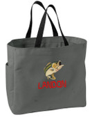 Fishing Bass Tote Font shown on tote is CAVEMAN