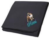 Bulldog Blanket Font shown on blanket is EDWARD SCRIPT