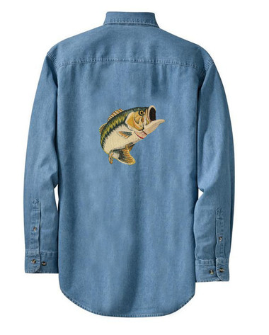Personalized fishing bass denim shirt for Embroidered fishing shirts