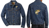 Bass Fishing Denim Jacket Front Left Chest & Back