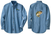 Bass Fishing Denim Shirt Left Chest & Back