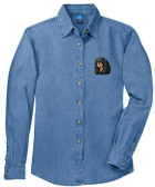 Cavalier King Charles Spaniel Ladies Denim Shirt