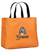 Petit Basset Griffon Vendeen Tote Font shown on tote is BRIDAL PATH