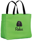 Irish Water Spaniel Tote Font shown on tote is Rebecca SCRIPT