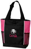 Dalmatian Panel Tote Font shown on bag is APPLE BUTTER