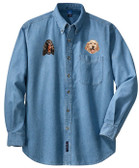 Gordon Setter & English Setter Denim Shirt Personalized  - Embroidered with 2 designs
