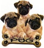 Pug T-shirt - Imprinted Three Pugs