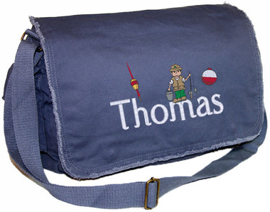 Personalized Boy Fishing Diaper Bag Font shown on diaper bag is WOODWORK