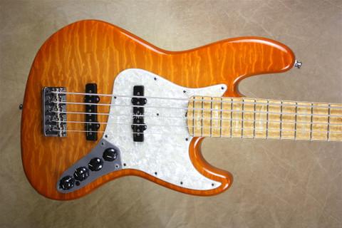 Fender Custom Shop Modern 5 String Trans Amber Jazz Bass V Guitar