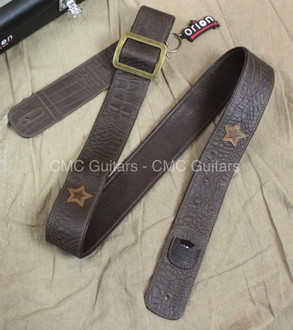 "Orion Guitar Gear Whiskey 2"" Leather Guitar Strap with Case"