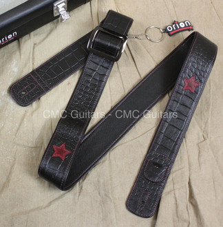 "Orion Guitar Gear Midnight 2"" Leather Guitar Strap with Case"