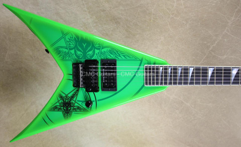 Jackson USA Custom Shop KV2 King V 1 Hum Baphomet Kawasbi Green Guitar