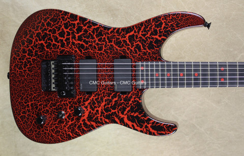 Charvel USA Custom Shop Dinky DK Rocket Red Black Crackle Guitar
