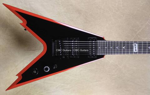 Dean USA Custom Shop Razorback V 7 String Black Red Bevel NAMM Guitar