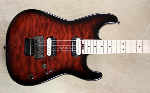 Charvel Pro Mod San Dimas 2H Trans Red Burst Guitar with FU Tone Big Brass Block