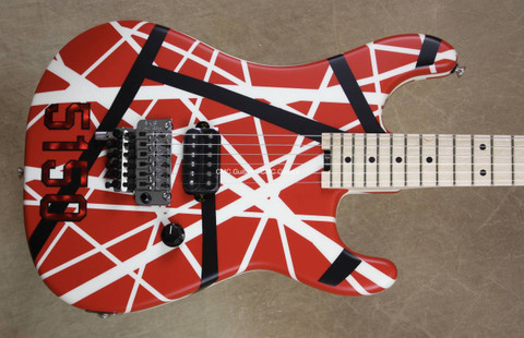 EVH Striped Series 5150 Red Black and White Guitar