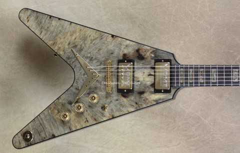 Dean USA Custom Shop Buckeye Burl Top V Guitar