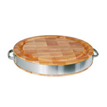 "Maple Chopping Block - 15-1/2"" Diameter - with Stainless Band, Handles, and Gravy Groove - John Boos"