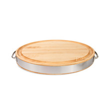"Oval Maple Cutting Board with Stainless Band and Handles - 20"" x 15"" x 2-1/2"" - John Boos"