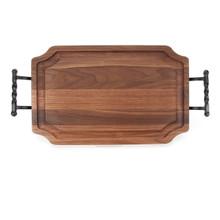 """Selwood 15"""" x 24"""" Cutting Board - Walnut (w/ Twisted Ball Handles)"""