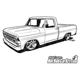 1969 Ford F100 Pickup Truck - ©2015 Ryan Curtis - HotRodCarArt.com