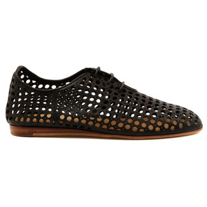Grass Lace Up Flats in Black