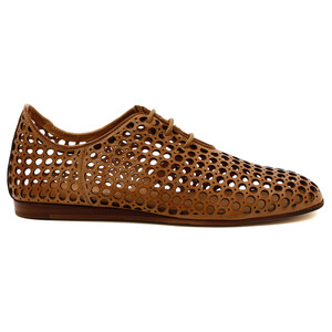 Grass Lace Up Flats in Tan