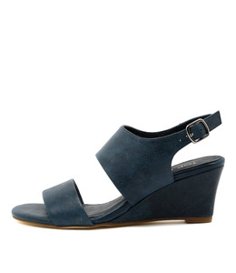 USOAP Wedge Sandals in Navy Leather