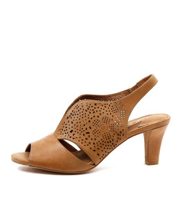 TANCE Heeled Sandals in Tan Leather