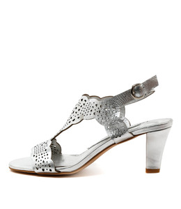 TASER Heeled Sandals in Silver Leather