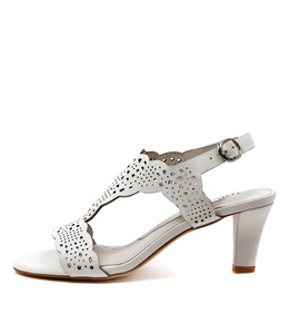 TASER Heeled Sandals in White Leather