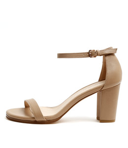 AMALFI Heeled Sandals in Nude Leather