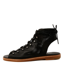 NEDS Lace-up Sandals in Black Leather