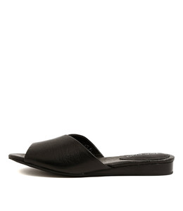 NOON Flat Sandals in Black Leather