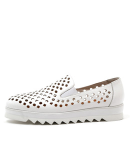 OLINDYS Flatform Loafers in White Leather
