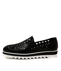 OLINDYS Flatform Loafers in Black Leather