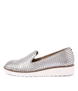 OLUS Flatform Loafers in Silver Cut Leather