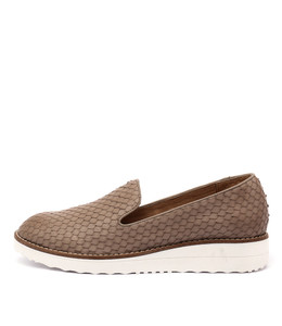 OLUS Flatform Loafers in Taupe Cut Leather