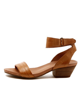 CLARISE Mid Heeled Sandals in Tan Leather