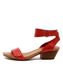 CLARISE Mid Heeled Sandals in Red Leather