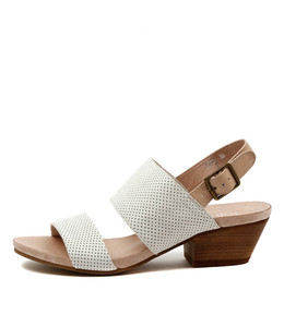 CREW Mid Heeled Sandals in White/ Nude Leather