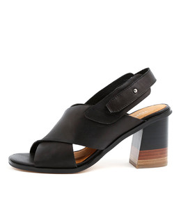 MOIRA Heeled Sandals in Black Leather