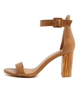 TEBEZ Heeled Sandals in Tan Leather
