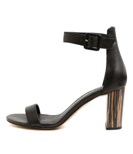 TEBEZ Heeled Sandals in Black Leather