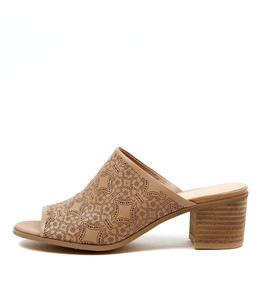 DODGE Mid Heeled Mules in Nude Leather